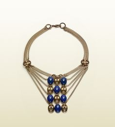 necklace with marina chain motif and smoky blue beads