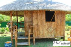 made of bamboo & nipa Wooden House Design, Bamboo House Design, Simple House Design, Hut House, Bali House, Cabana, Bahay Kubo Design Philippines, Filipino House, Bali Architecture