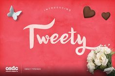 Free Tweety Sweety Script is a hand-made font created by using thick brush. It is a lovely font that the thickness of lines are charming. It can be easily used for t-shirts, bags, invitations and so on... with swashes characters. -Partner Link