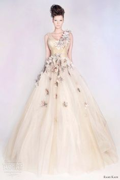 Wedding dress with colorful embroidery