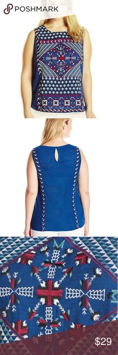 """LUCKY BRAND  2X Embroidered  Linen Blend Tank Top LUCKY BRAND  Plus Size 2X Embroidered Sleeveless Linen Blend Tank Top  NWT msrp $59.50  Vibrant embroidery dresses up this sleeveless top from Lucky Brand.   55% Linen 45% Rayon Knit. Embroidery is 100% polester. Machine Wash cold, delicate, inside out. Tumble dry low. All-over multi-colored embroidery. Crew neckline.  Approximate Flat Measurements: 23.5"""" underarm to underarm 27"""" from shoulder top to hem LUCKY BRAND Tops Tank Tops"""