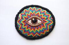 "Hand Embroidered All Seeing Eye Brooch / Patch - Psychedelic Rainbow Zigzag - 3"" x 2.5"" on Etsy, $44.50"