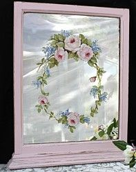 Hand Painted Floral design on a Pink Timber Mirror - Postage is included Australia Wide