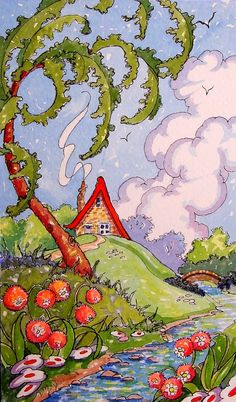 Paradise can Come in a Small Package Retro Deco Whimsical Storybook Cottage Original Watercolor