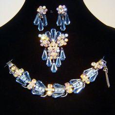 Vintage Juliana Blue AB Rhinestone Pentagon Bracelet Brooch Earrings D&E Book Set http://www.rubylane.com/item/458687-RL-905/Vintage-Juliana-Blue-AB-Rhinestone
