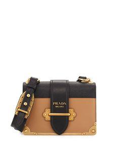 L0PVT Prada Cahier Notebook Shoulder Bag, Red/Black (Fuoco/Nero)