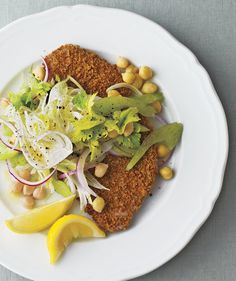 Oven-Fried Pork Cutlets With Fennel-Chickpea Slaw | Need some quick dinner ideas? Try one of these speedy recipes that take just 15 minutes or less of hands-on work.