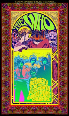 Who Concert Promo Poster, Thurs Oct 5 PM Pengrowth Saddlesdome Calgary Band Posed Inset With Woman Leaning On Inset & Mask Bob Masse Art Inches x 24 Inches), Who The Who Concert Promo Poster, Who Posters/Wall Art, Who Merchandise Rock Posters, Band Posters, Hippie Posters, Poster Art, Kunst Poster, Psychedelic Rock, Psychedelic Posters, Vintage Concert Posters, Vintage Posters