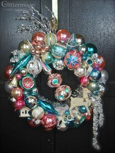 Vintage Ornament Wreath -- make from grandma's old ornaments Christmas Ornament Wreath, Xmas Wreaths, Vintage Christmas Ornaments, Retro Christmas, Christmas Decorations, Vintage Decorations, Ornament Crafts, Christmas Past, Christmas Projects