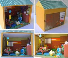 A cool Japanese Paper Doll House in 1/12 scale, by Japanese website Paper Museum. The model that you see in the photos was built by Brazilian designer and modeler KarenKaren.