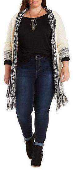 Plus Size Border Fringe Cardigan Sweater