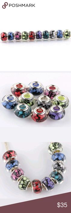Murano glass beads floral style 10ct new These are the exact size made w murano glass Italian Charm for jewlery just like the leading brand that's Pandora   These are foral, color 2 sets of each color  Then size is equally the same as the Pandora brand for a fraction of the cost these are beautiful    Inhave solid colors in sets of 5 / and jelly in 10  Sets of 5 or 10 only  This is for this listing ONLY  Last pixs a 9 set jelly and 5 glitter blue and 5 hot pink   Keys diy brand new beads…