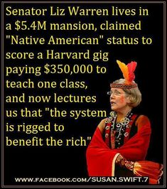"""Democrat Senator Liz Warren lives in a $5.4 million-dollar mansion and now lectures us that """"the system is rigged to benefit the rich."""""""