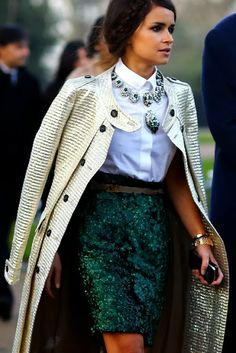 How to Chic: MIROSLAVA DUMA IN A GREEN SEQUIN SKIRT