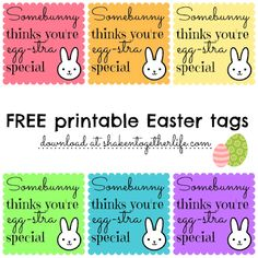 Somebunny thinks you're egg-stra special ~ FREE printable Easter gift tags at shakentogetherlif. Madi has had a bunny since she was a baby.I wake her up with the bunny.saying somebunny loves you Student Gifts, Teacher Gifts, Daycare Gifts, School Gifts, School Fun, School Stuff, Gift Tags Printable, Free Printable, Free Easter Printables