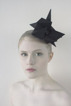 Paper Headpiece by misassembled.com - Geometric, Origami Fashion, Black Crystals