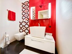 Cheerful Furniture Design Styles with Wonderful Atmosphere: Deluxe Bathroom At Apartment With Terrace In Kiev Which Includes Such As Red Tow. Interior Decorating, Interior, Apartment Terrace, Minimalist Bathroom Design, Art Deco Bathroom, Bathroom Colors, Bathroom Design, Small Bathroom Design, House Colors