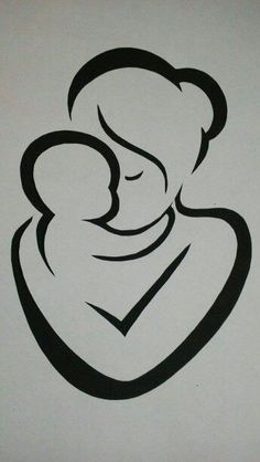 Mother and child Artist unknown Pencil Art Drawings, Art Sketches, Intarsia Holz, Silhouette Art, Silhouette Tattoos, Scroll Saw Patterns, Stencil Art, String Art, Rock Art