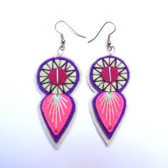 INDIE EARRINGS Felt and hand embroidery by designedbyjane on Etsy