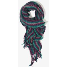 Ruffled Stripe Scarf found on Polyvore featuring polyvore, fashion, accessories, scarves, striped scarves, fringe scarves, forever 21, fringed shawls and ruffled shawl