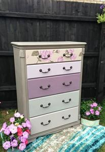 skylar-belle chest of drawers painted and papered in ASCP and Autentico colours Shabby Chic Furniture, Painted Furniture, Furniture Ideas, Furniture Restoration, Dresser Painting, Restoring Furniture, Colours, Living Room, Updos
