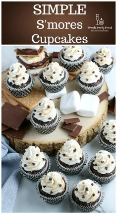 Love S'mores but not the mess?  These little cupcakes will fix that.  Graham cracker crust, chocolate cupcake with a marshmallow frosting!  #smores #partyfood #simplepartyfood Chocolate Cake Mixes, Mini Chocolate Chips, Desserts To Make, Healthy Dessert Recipes, Cake Mix Recipes, Cupcake Recipes, Moist Cupcakes, Sleepover Food, Delicious Desserts