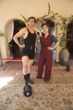 James and Hayley behind the scenes of Agent Carter