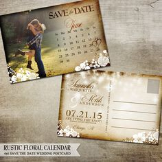 Printable Rustic Save the Date Postcard | Calendar, Flowers, Banners and vintage style | Digital Printable Save the Date Postcards by OddLotEmporium on Etsy https://www.etsy.com/listing/214932043/printable-rustic-save-the-date-postcard