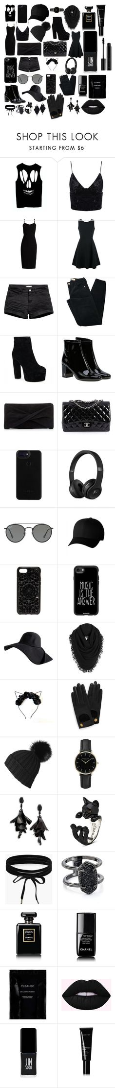 """""""Black"""" by scootpollock ❤ liked on Polyvore featuring MaxMara, Emporio Armani, Brandy Melville, Yves Saint Laurent, Reiss, Chanel, Ray-Ban, Flexfit, Felony Case and Casetify"""