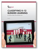 """Innosight Institute report on """"The rise of K-12 blended learning: Profiles of emerging models."""" The report includes definitions of blended learning models and profiles of 40 blended K-12 schools."""