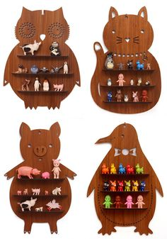 Animal Shaped Wooden Shelves _ owl, cat, pig and penguin