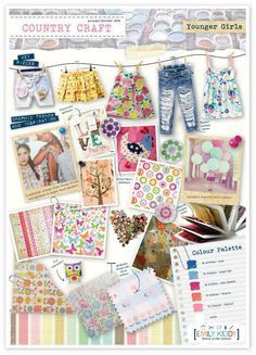 I have been working on a number of trends for Autumn/Winter over the past month. A couple of my favorites are these outdoor/craft th. Children Sketch, Mood Images, Girl Trends, Country Crafts, Crafts For Girls, Fabric Painting, Kids Wear, Kids Fashion, Presentation Boards
