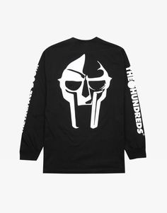 The Hundreds x MF Doom Mask long sleeve black Mf Doom Mask, The Hundreds, Caps For Women, Street Wear, How To Get, Tees, Long Sleeve, Clothing, Sweaters