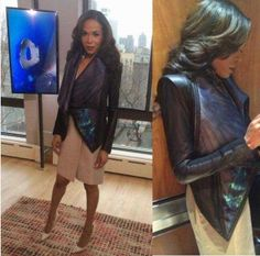 Michelle Williams in our favorite crow print wrap jacket from Skingraft on OK! TV