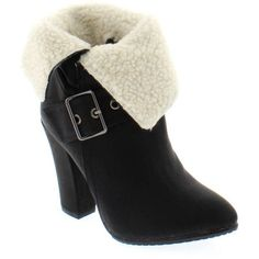 Shoes of Soul Women's Fleece Lined Fold Over Bootie, Size: 5, Black