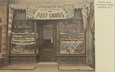 COMMERCE:  Brooks Store -  Washington Street Hoboken, New Jersey Storefront, 1910s. Postcard of postcard store.