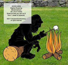 A Woodworking Pattern to Make Your own Bigfoot Sasquatch Roasting Marshmallows Includes Free TRACING Paper! Woodworke... Woodworking Patterns, Woodworking Projects, Make Your Own, Make It Yourself, Bigfoot Sasquatch, Roasting Marshmallows, Plywood Sheets, Event Themes, Autumn Trees