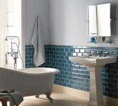 how not to do it Aqua glass metro tiles. A splash of colour with tiles Glass Tile Bathroom, Bathroom Colors, Small Bathroom, Bathroom Wall, Fired Earth Bathroom, Blue Bathrooms, Colorful Bathroom, Bathroom Cabinets, Bathroom Vanities