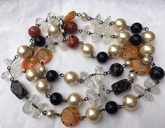 Vintage Chanel 96A Large White & Black Pearl Murano Glass Disc Sautoir Necklace