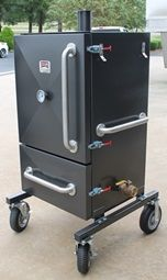 A great idea for my sweetie! Wheels on the smoker! BQ Smokers Vertical Direct Insulated Smokers A thing of true beauty!