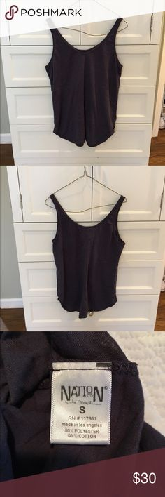 Nation Ltd Tank Deep gray and purple burnt out design tank. Loose and relaxed fit. Super comfortable material and easy to wear with jeans or sweats! Previously worn but in good condition with no stains or signs of wear. Open to reasonable offers through feature! Nation Ltd Tops Tank Tops