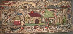HOUSE ANTIQUE HOOKED RUG, SQUIGGLY LANDSCAPE - 20070