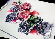 Lace, roses, and watercolor...nothing better