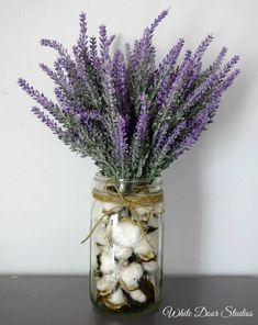A cotton and lavender arrangement that oozes rustic charm. If farmhouse style is your thing, then this is a must have addition to your decor. Arrangement measures approximately Spring Home Decor, Fall Decor, Diy Home Decor, Spring Decorations, Mason Jar Crafts, Mason Jars, Meubles Peints Style Funky, Farmhouse Style, Farmhouse Decor