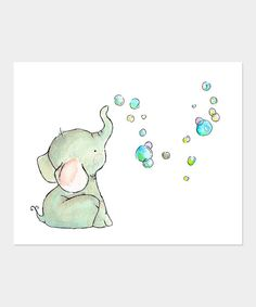 Look at this Elephant Bubbles Print on #zulily today!