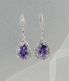 Boucles d'oreilles cristal Bridal bijoux de mariage bijoux de mariée mariage cristal Swarovski boucles d'oreilles, Ariel Purple Drop Earring...