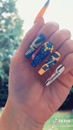 Cute Acrylic Nail Designs, Cute Acrylic Nails, Coffin Nails, Gel Nails, Nail Polish, Racing Nails, Nail Art Printer, The Glow Up, Nail Art Diy