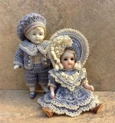 "VICTORIAN STYLE CROCHETED DRESS SET FOR 3 1/2"" ALL BISQUE DOLL* by Tina (05/20/2015)"