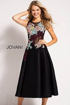 31a8cd1b5c6c Black Fit and Flare Floral Appliques Contemporary Dress 23695   Fit amp FlareDress  Jovani