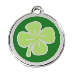 Red Dingo Custom Engraved Stainless Steel and Enamel Dog ID Tag  Lucky Clover Large *** See this great product.